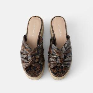 NWT • Zara • Leather Platform Wedges